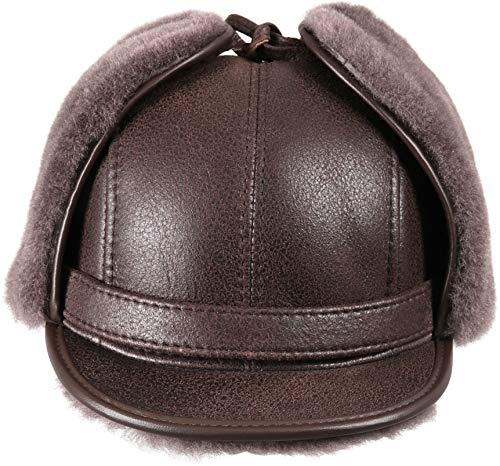 Zavelio Men's Shearling Sheepskin Elmer Fudd Visor Hat X-Large Cashmere