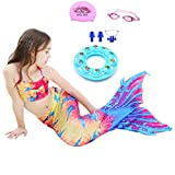 AUIE SAOSA Mermaid Tail Swimwear Children Mermaid Fashion Cosplay Swimsuits,Giving:Swim Cap,Swim Goggles,Swim Ring,Nose Clip 7T Yellow Y130