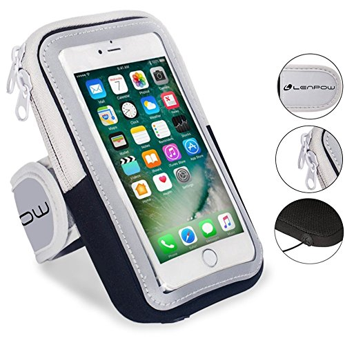Gym Running Armband (LENPOW Multifunctional Outdoor Sports Armband Sweatproof Running Armbag Casual Arm Package Bag Gym Fitness Cell Phone Bag Key Holder for iPhone X 8 7Plus 6sPlus Samsung Galaxy Note 5 4 S8 S7 Edge Plus)