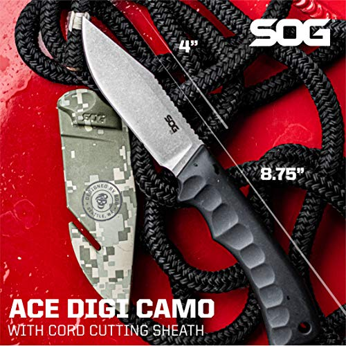 SOG Fixed Blade Knives with Sheath - Ace Field Knife, Survival Knife, Hunting Knife, Camping Knife w - coolthings.us
