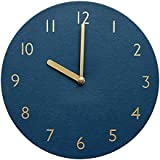 "thehaki Decorative Wall Clock Silent & Non-Ticking Quartz Clock PU Leather Lightweight 0.4lb Round 9"" (Navy)"