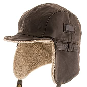 ULTRAFINO Pilot Trooper Aviator Cap Leather Hat Trapper Men Winter hunting 6 7/8
