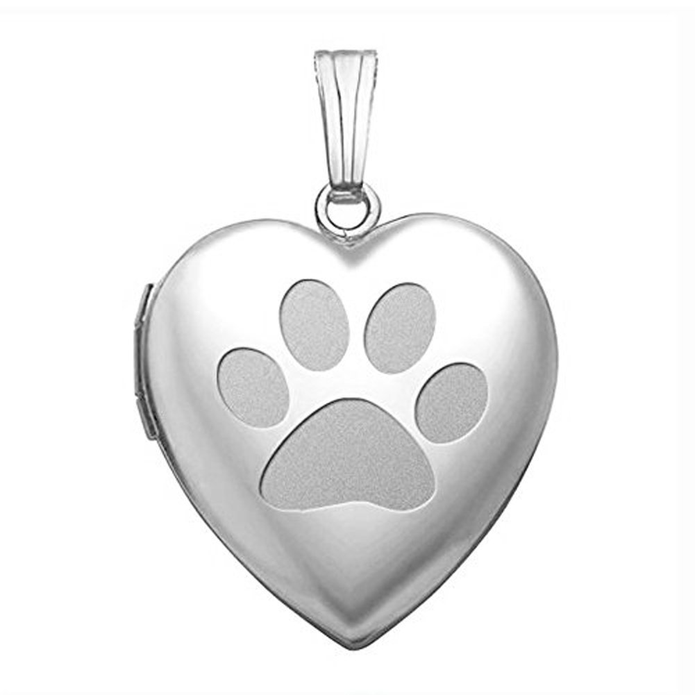 PicturesOnGold.com Sterling Silver Dog Paw Heart Locket Pendant Necklace - 3/4 Inch X 3/4 Inch WITH ENGRAVING