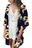 Yonala Women's Beach Cover Up Floral Print Bikini Swimsuit Kimono Cardigans