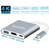 USB C to HDMI Adapter 3 in 1 USB C Adapter Multiport USB-C Hub with Type C Charging, USB 3.0 and 4K Video Output Ports Silver USB C Splitter / Extender for Macbook pro 2017, HP, Chromebook, Laptop