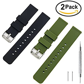 KDM Rubber Watch Band Pack of 2-18mm 20mm 22mm Silicone Quick Release Watch Strap Stainless Steel Buckle (Black+Army Green, 18mm)