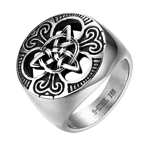 JewelryWe Schmuck Herren-Ring, Edelstahl Keltischer Knoten Triquetra Irischen Dreiecksknoten Gothic Siegelring Rund Ring, Silber, Größe 54 bis 74