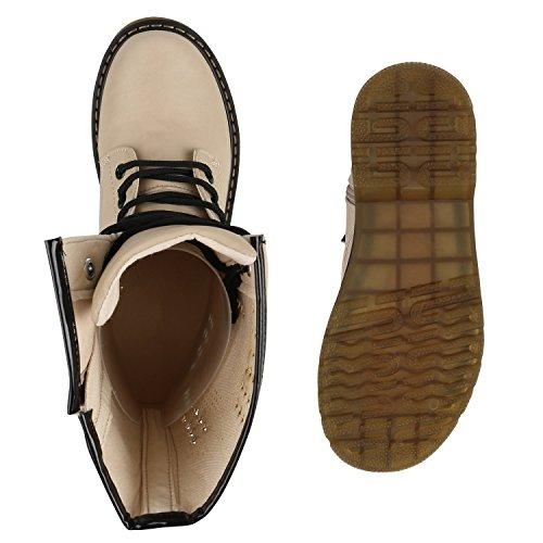 Stiefelparadies Damen Herren Unisex Worker Boots Profilsohle Leder-Optik Stiefeletten Blockabsatz Stiefel Schnürstiefeletten Übergrößen Flandell Creme