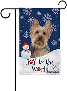 BAGEYOU Happy Winter Holiday Snow with My Love Dog Yorkie Decorative Garden Flag Joy to The World Snowfalke Paws Snowman Home Decor Banner for Outside 12.5X18 Inch Printed Double Sided