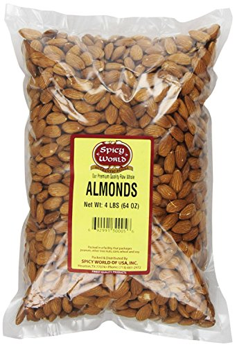 Raw Almonds (Spicy World Almonds Whole (Natural and Raw), 4 Pound)