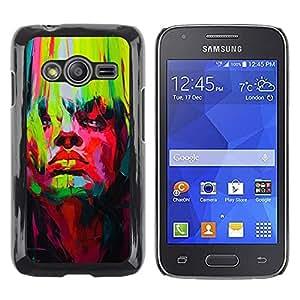 Be Good Phone Accessory // Dura Cáscara cubierta Protectora Caso Carcasa Funda de Protección para Samsung Galaxy Ace 4 G313 SM-G313F // Bright Vibrant Colors Green Red Painting