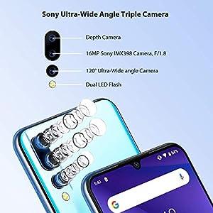 UMIDIGI A5 Pro Unlocked Mobile Phones SIM Free Dual 4G Smartphone 16MP+8MP+5MP Camera Smartphones 4150mAh Battery 6.3″ FHD+ 32GB ROM 4GB RAM Android 9 Pie (Blue)