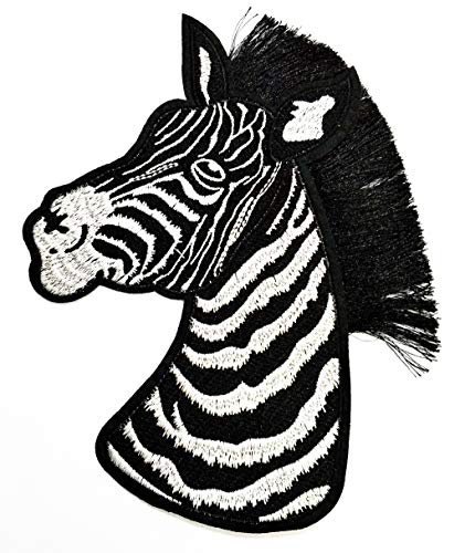 Nipitshop Patches Size Big Zebra Patch Wild Life Zoo Animal Cartoon Kid Patch Embroidered DIY Patches Cute Applique Sew Iron on Kids Craft Patch for Bags Jackets Jeans Clothes