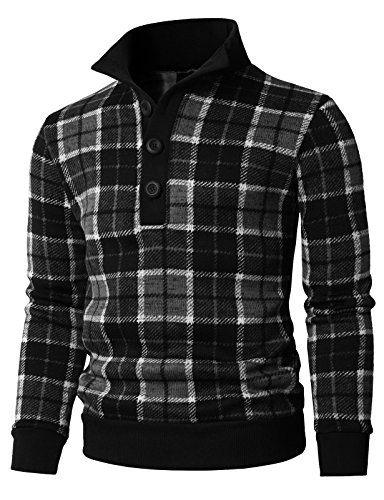 H2H Mens Casual Plaid Patterned Mock Neck Pullover Sweater with Fleece Lining Black US L/Asia XL (KMOSWL0219)