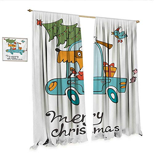 Christmas Patterned Drape for Glass Door Blue Vintage Car Dog Driving with Santa Costume Cute Bird Tree and Gift Present Window Curtain Fabric W84 x L84 White Multi.jpg
