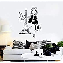 ANewDecals Wall Vinyl Decal Girl Mini Dress I Love Shopping Paris Fashion Decor Girl's Room Modern Sketch Home Art