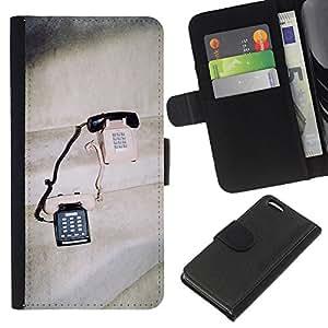 KLONGSHOP // Tirón de la caja Cartera de cuero con ranuras para tarjetas - Teléfonos Vintage lindo Amor Pareja Compartiendo - Apple Iphone 5C //