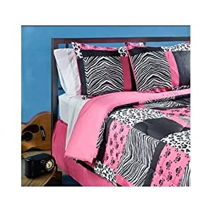 Teen pink zebra bedding 4 piece pink black and white bed in a bag full size set is - Teen cheetah bedding ...