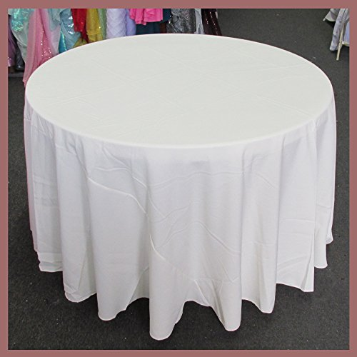 Newstar Tablecloth Round 132 inches Poly Poplin/Polypoplin / Polyester/Gabardine / Linens, Ivory, For Wedding and Party Supplies, Tablecloth Cover ...