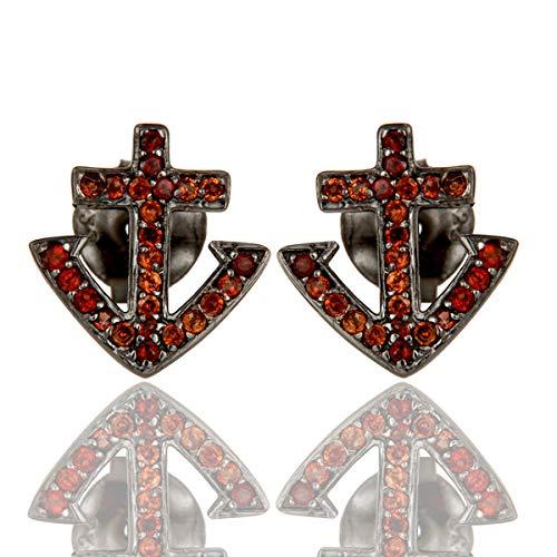 Pave Garnet Cross Design 925 Sterling Silver Black Stud Earrings for Girls Jewelry