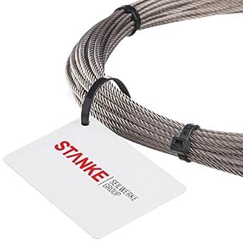 50 m Alambre Cuerda Acero inoxidable Acero Cuerda 5 mm Alambre de acero inoxidable 7 x 7 cuerda inox V4 A A4 inoxidable Barandilla cuerda alambre ...