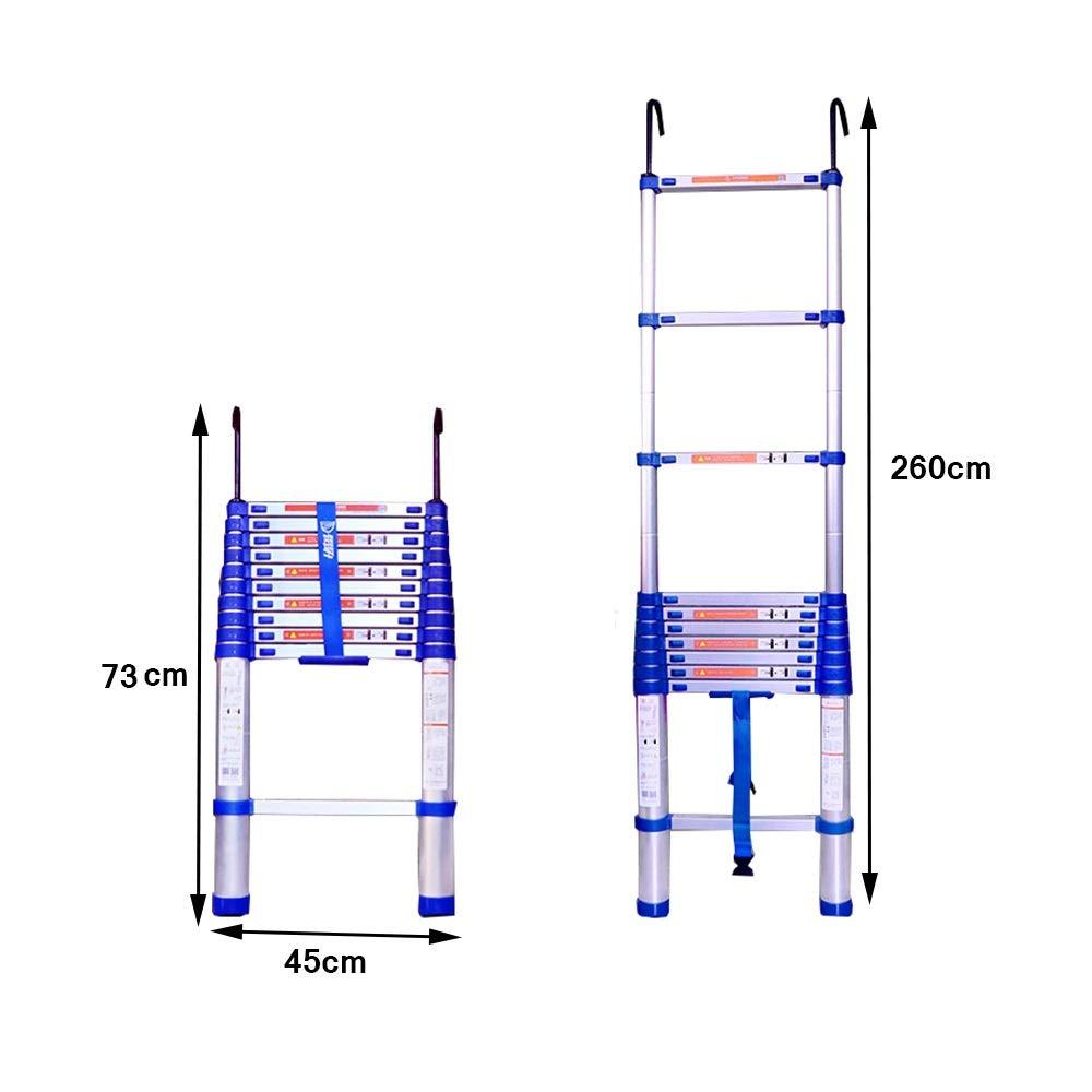 2 M // 78,7 Zoll, 2,6 M // 102,3 Zoll, 2,95 M // 116,1 Zoll K XSJZ Teleskopleiter Zusammenklappbar Und Bequem Mit Haken Gerade Leiter Home Lifting Treppen Aluminiumlegierung Engineering Teleskopleiter