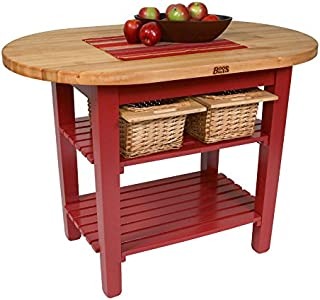 "product image for John Boos C-Elip Country-Style Elliptical Butcher Block Table - 48""W, 30""D, No Shelf, Basil Green Base"