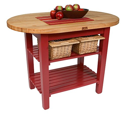 John Boos C-Elip Country-Style Elliptical Butcher Block Table - 48''W, 30''D, Two Shelves, Gray Stained Base by John Boos