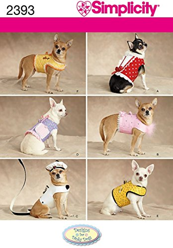 Simplicity Small to Medium Dog Clothes and Jackets Sewing Pattern, Sizes XXS to M