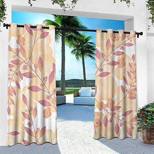 (Hengshu Beige, Outdoor Patio Curtains Waterproof with Grommets,Pastel Berry Branches Autumn Spring Repetitive Vegetative Fresh Seasonal Graphic, W84 x L108 Inch, Pink Peach)