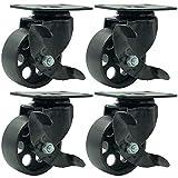 FactorDuty 4 All Black Metal Swivel Plate Caster