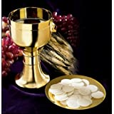 Gold Tone Chalice with Paten by Faithful Gifts