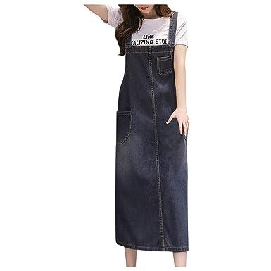 QinMMROPA Peto Falda de Mezclilla Suelta para Mujer Jeans Largos ...
