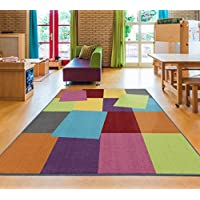 Ottomanson Rainbow Collection Non-Slip Kids Rug Modern...