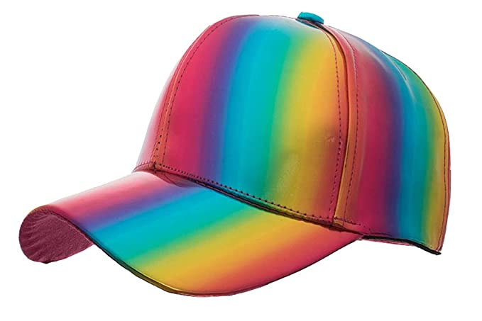 450c72320 Rainbow Baseball Cap PU Adjustable Sun Hat (Adjustable, Rainbow) at ...