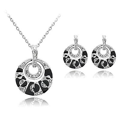 Ecloud Shop Belles femmes rétro diamant colliers pendentif en cristal boucles d'oreilles noires