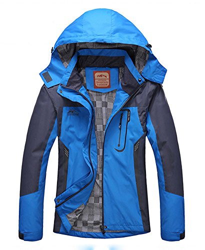 Women's Casual Waterproof Outdoor Jacket-Diamond Candy Hooded lightweight Raincoat Blue X-Small (Light Soft Shell Jacket)