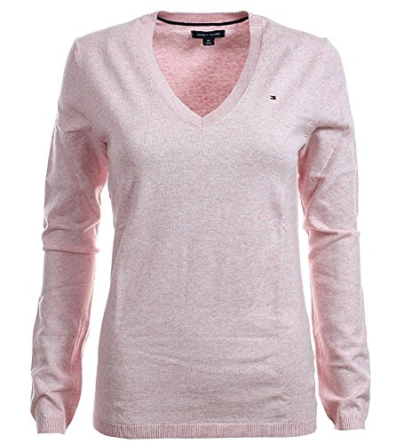 Tommy Hilfiger Women's Argyle V-Neck Cotton Logo Sweater - L - Pink Heather