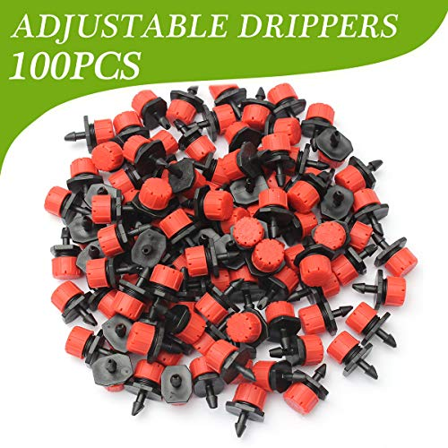 AGSIVO Drip Irrigation Kit 100pcs Plastic Adjustable Emitter Dripper Micro Drip Irrigation Sprinklers Head for Watering System (100pcs Dripper) (Pressure Systems Water Constant)