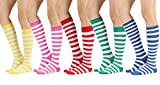 STYLEGAGA Women's Casual Knee High Socks (One Size : XS to M, Stripes Color Asst-5Pair)