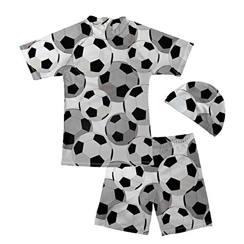 doginthehole Boys Swimwear Set with Short Sleeve Rashguard Swim Shirt Soccer Pattern 5-6 Years (Submarine Bathing Suits)