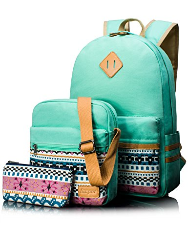 Leaper Lightweight Canvas Laptop Bag School Backpack Shoulder Bag Purse Pen case (Large, Water Blue, 3pcs)