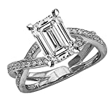 3.69 CTW Eternity Love Criss Cross Twisting Split Shank Diamond Engagement Ring w/3.4 Ct GIA Certified Emerald Cut I Color VS1 Clarity Center