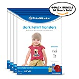 "Printworks Dark T-Shirt Transfers for Inkjet Printers, For Use on Dark and Light/White Fabrics, Photo Quality Prints, 20 Sheets,(4-pack Bundle) 8 ½"" x 11"" (00545)"