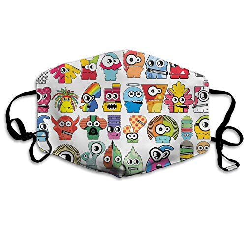 Hylionee6. Cartoon Monster Personalized Customization Masks Dust-Proof Anti-Bacterial Washable - Reusable Masks-Suitable for Men and Women Masks Unisex Anti Dust Mask