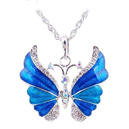 Eyourlife Christmas Butterfly Rhinestone Necklace