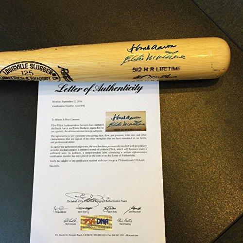 Hank Aaron Game (Hank Aaron & Eddie Mathews Signed Louisville Slugger Game Model Baseball Bat PSA)