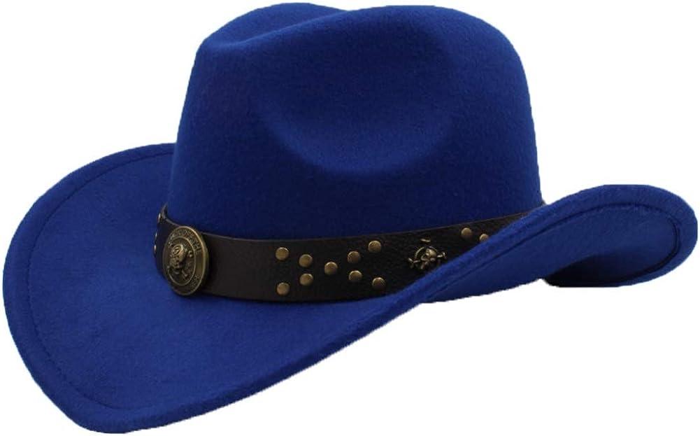 ASO-SLING Faux Felt Wide Brim Western Cowboy Hat Wool Fedora Outback Cattleman Hat with Belt
