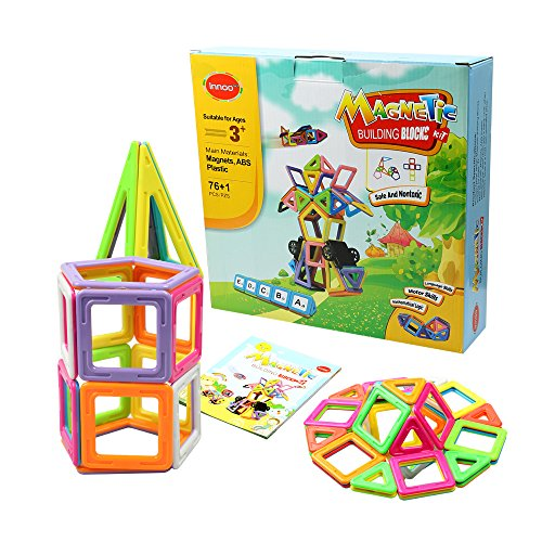 Innoo Tech Magnetic Building Blocks, Magnetic Building Tiles,77 Pieces Magnetic Shapes, ABS Safety Plastic, Instruction Booklet Included, Construction Toys Educational Toys for Toddlers & Kids