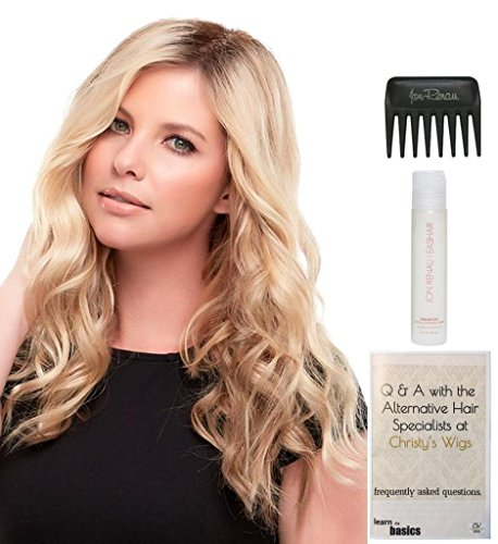 Bundle - 4 Items: Top Wave 18'' Long Hairpiece by Jon Renau, Christy's Wigs Q & A Booklet, 2oz Travel Size Synthetic Shampoo & Wide Tooth Comb Color: 12FS8 by Jon Renau & Christy's Wigs